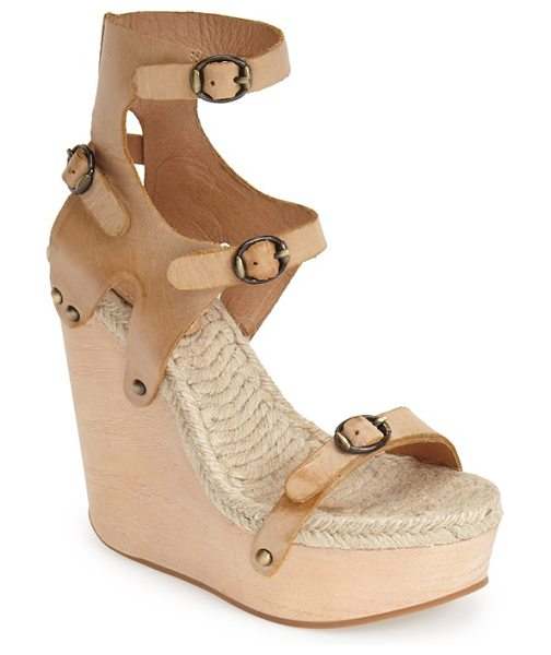 MAXSTUDIO finial espadrille wedge in tobacco - A strappy, architectural sandal takes a dramatic turn...