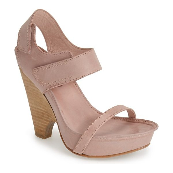 MAXSTUDIO nightly demi-wedge leather sandal in pink - A sleek demi-wedge heel adds a contemporary twist to an...