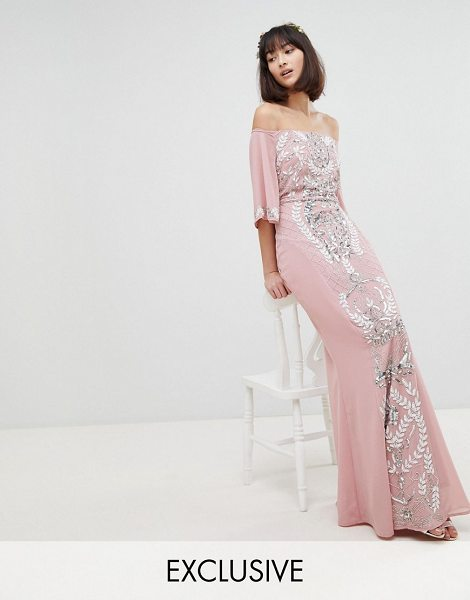 Maya all over embellished bardot maxi bridesmaid dress with fluted sleeves in vintagerose - Dress by Maya, Some days call for a little extra, Bardot...