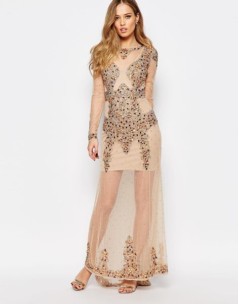 Maya All over embellished maxi dress with long sleeves in nudemulti - Maxi dress by Maya Petite's Woven fabric Slip lined...