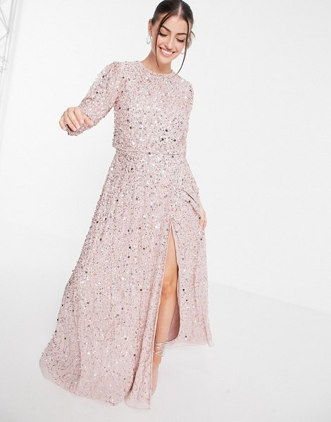 Maya all over embellished maxi dress with slit in frosted pink in pink