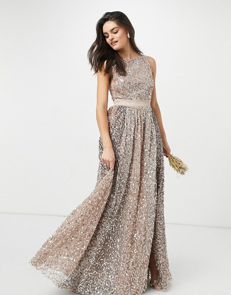 Maya allover contrast tonal delicate sequin dress with satin waist in taupe blush-pink in pink