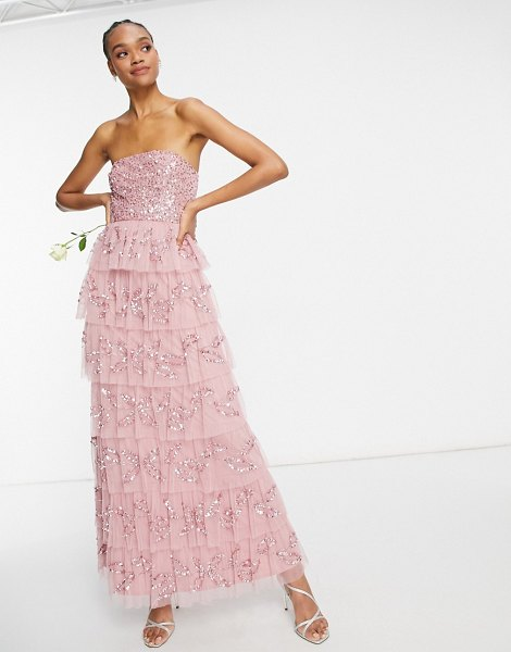 Maya bandeau all over embellished tiered maxi dress in rose pink in pink