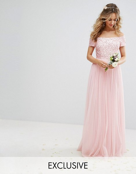 Maya bardot maxi dress with delicate sequin and tulle skirt in pink