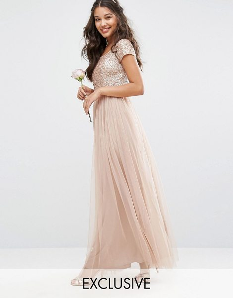 "Maya bardot maxi dress with delicate sequin and tulle skirt in mink - """"Maxi dress by Maya, Sequin embellished top, Wide-cut..."