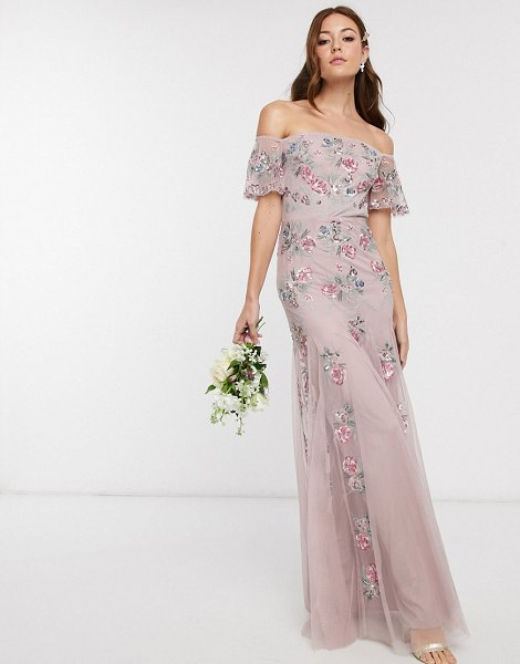 Maya bridesmaid all over floral embellished bardot maxi dress in pink in pink