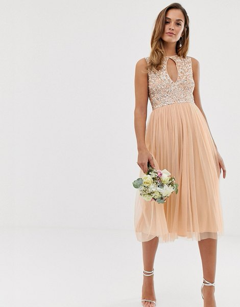 Maya bridesmaid delicate sequin midi skater dress with keyhole detail in soft peach-pink in pink