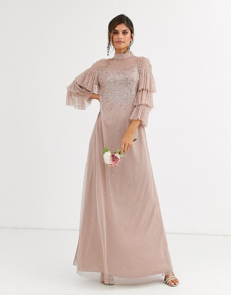 Maya bridesmaid delicate sequin tulle maxi dress in taupe blush-brown in brown