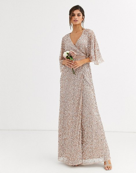 Maya bridesmaid delicate sequin wrap maxi dress in taupe blush-brown in brown