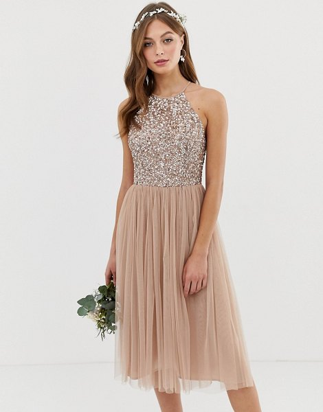 Maya bridesmaid halter neck midi tulle dress with tonal delicate sequins in taupe blush-brown in brown