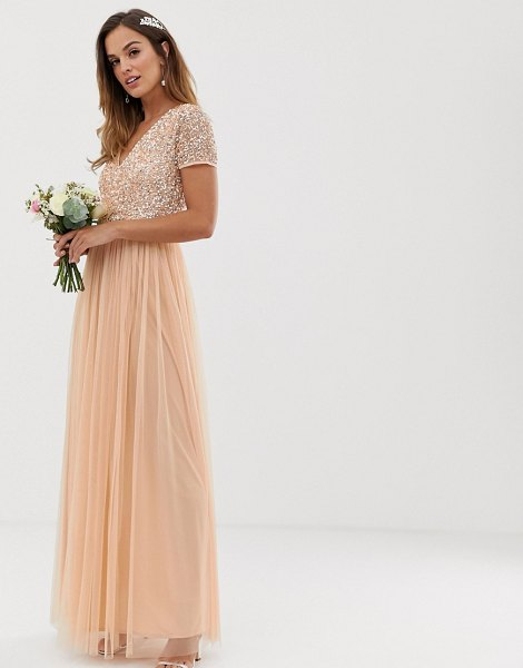 Maya bridesmaid v neck maxi dress with delicate sequin in soft peach-pink in pink