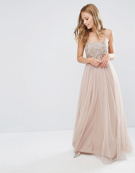 Maya cami strap maxi dress with tulle skirt and embellishment in taupeblush - Maxi dress by Maya, For that thing you have to go to,...