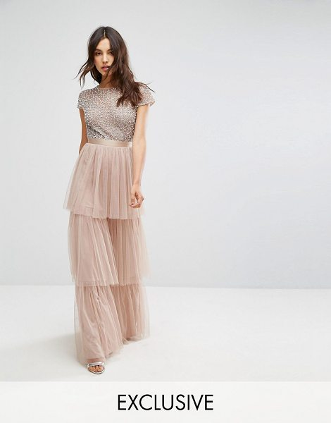 "MAYA Cape Sleeve Tiered Maxi Dress in Tonal Delicate Sequin with Bow Back in brown - """"Maxi dress by Maya, Midweight woven fabric, Round..."