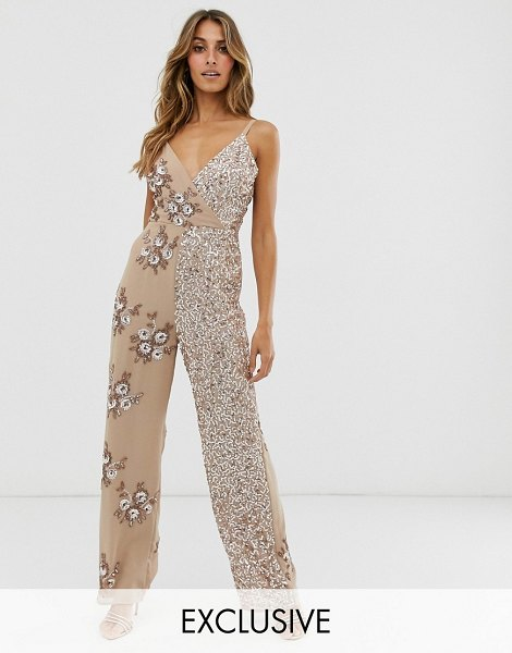 Maya contrast embellished wrap front jumpsuit in taupe blush-pink in pink