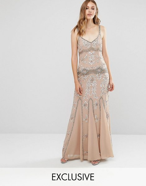 Maya Delicate Embellished Maxi Dress with Fishtail in brown - Maxi dress by Maya, Lined chiffon, All-over embellished...