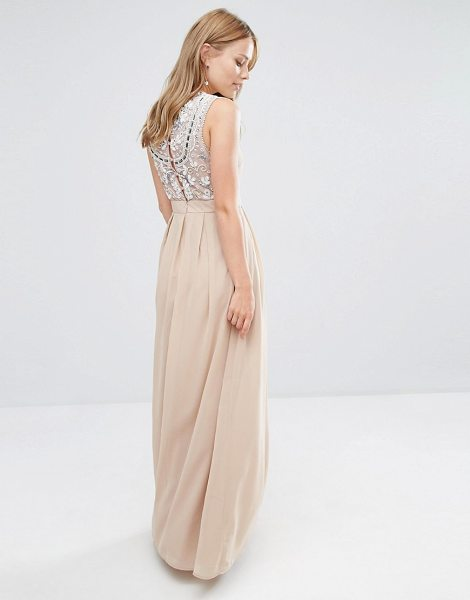 Maya Delicate Maxi Dress with Embellished Back in brown - Maxi dress by Maya, Heavyweight woven fabric, Fully...