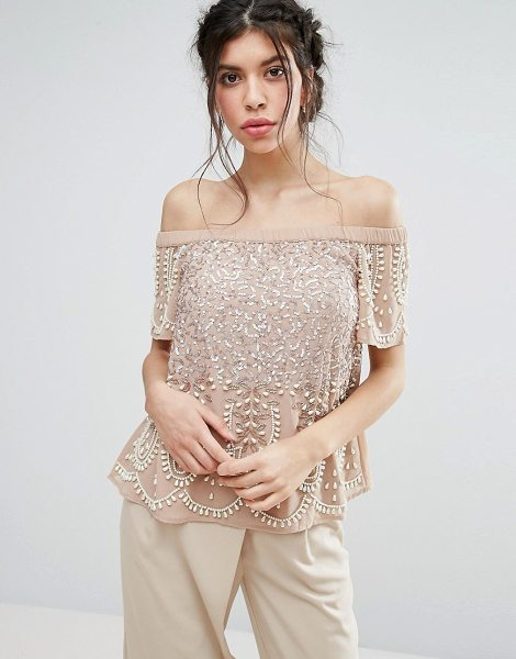 Maya Embellished Bardot Top in pink