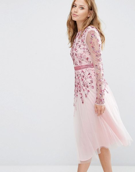 Maya Embellished Fit and Flare Midi Dress in pink - Dress by Maya, Embellished mesh, Partial lining, Round...