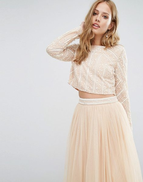 Maya Embellished Long Sleeved Crop Top in pink - Top by Maya, Lined mesh, Embellished with beads and...