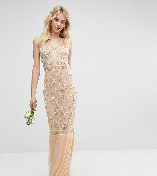 "Maya Embellished Maxi Dress with Fishtail in pink - """"Maxi dress by Maya, Sheer mesh straps and back,..."