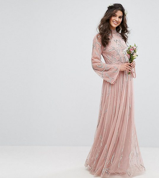 "Maya Embellished Maxi Dress With Fluted Sleeve in pink - """"Dress by Maya, Embellished lined fabric, High-neck..."