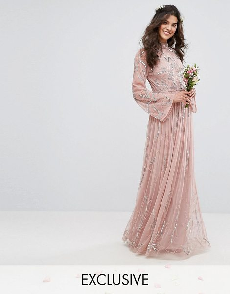 Maya Embellished Maxi Dress With Fluted Sleeve in pink