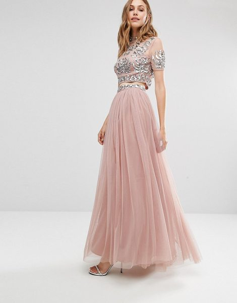 Maya Tulle Maxi Skirt With Embellished Waist in pink - Maxi skirt by Maya, ,Lined tulle, Embellished waist, Zip...