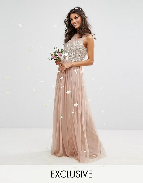 "Maya embellished sweetheart maxi dress with tulle skirt in mink - """"Maxi dress by Maya, Sequin embellished top, Round..."