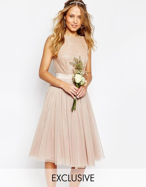 Maya Embellished Top Midi Dress with Tulle Skirt in brown - Midi dress by Maya, Embellished bodice, Bead and sequin...