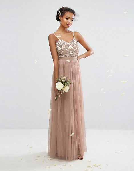 Maya embellished tulle maxi dress in mink