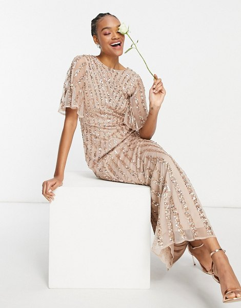 Maya flutter sleeve all over patterned sequin maxi dress in taupe blush-pink in pink