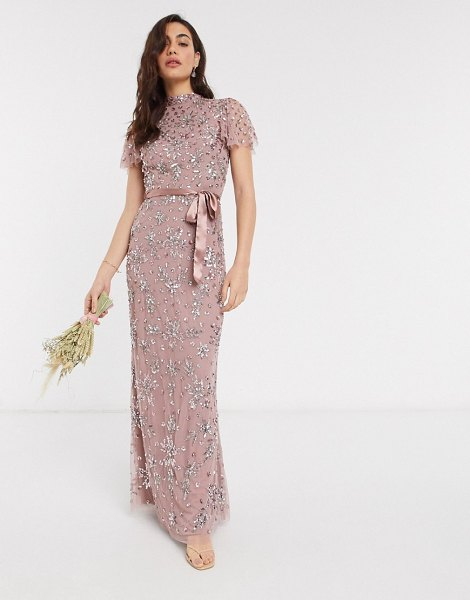 Maya high neck all over floral embellished maxi dress with satin belt maxi dress in pink in pink