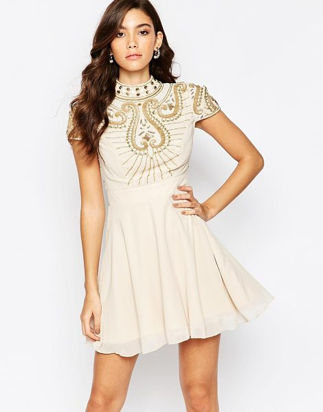 Maya High neck embellished bodice skater dress in creamgold - Evening dress by Maya Petite's Lined chiffon Bead and...