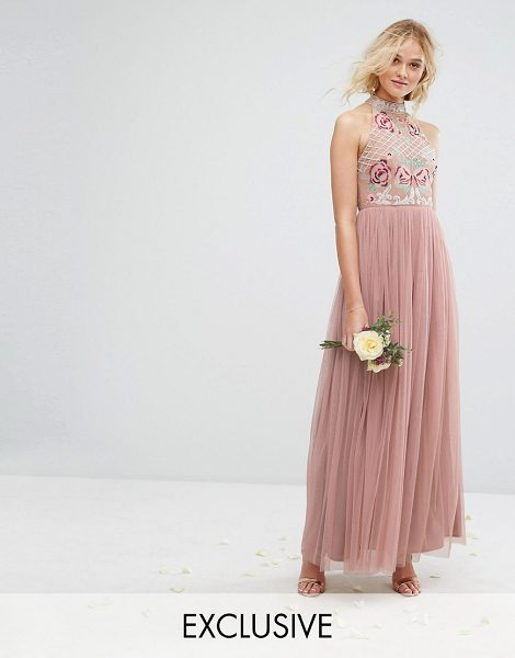 Maya High Neck Embroidered Rose Tulle Maxi Dress in brown