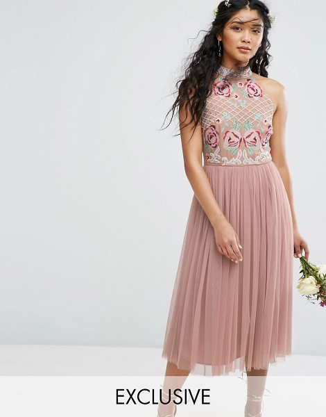 "MAYA High Neck Embroidered Rose Tulle Midi Dress in brown - """"Midi dress by Maya, Lined woven top, High neck, Floral..."