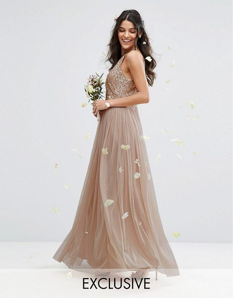 "Maya high neck maxi tulle dress with tonal delicate sequins in taupeblush - """"Evening dress by Maya Petite's, Sequin embellished..."