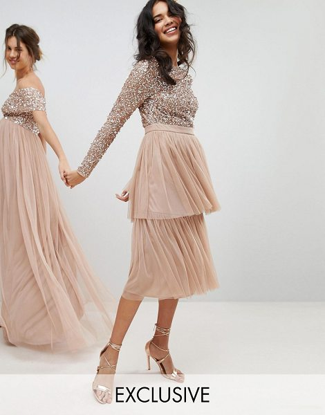 Maya Long Sleeve Sequin Top Midi Dress With Tiered Tulle Skirt in taupeblush - Dress by Maya, Round neck, Long sleeves, All-over...