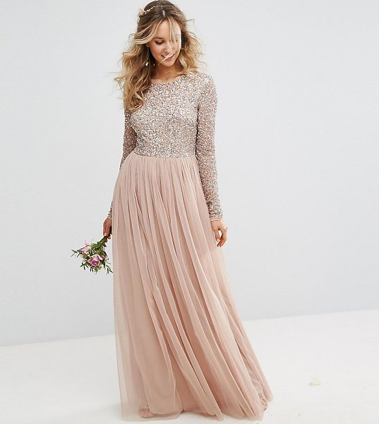 "MAYA Long Sleeved Maxi Dress with Delicate Sequin and Tulle Skirt - """"Maxi dress by Maya, Sequin embellished fabric, Long..."