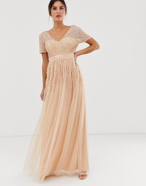 Maya mesh all over scattered sequin pleated maxi dress in soft peach-pink in pink