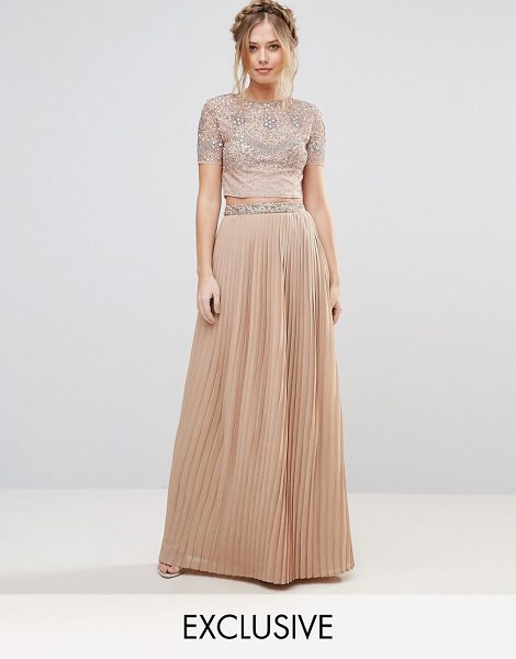 MAYA Pleated Maxi Skirt With Embellished Waistband - Maxi skirt by Maya, Lined chiffon, High rise, Sequin...