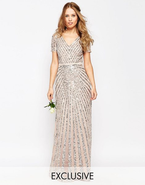 Maya Sequin All Over Maxi Dress in pink - Evening dress by Maya, Heavy-weight sequinned mesh,...