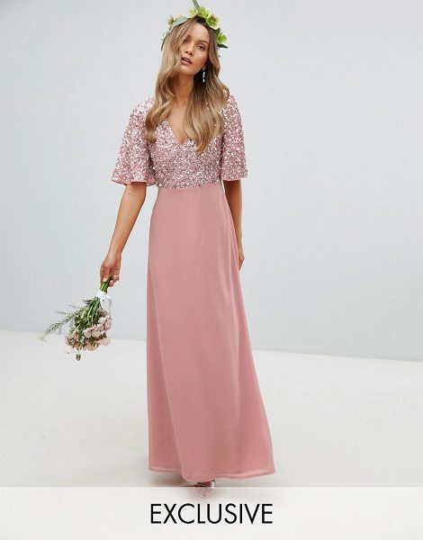 Maya sequin top maxi bridesmaid dress with flutter sleeve detail in vintagerose