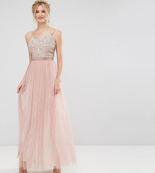 Maya Tall Embellished Cami Strap Bow Back Embellished Maxi Dress in pink