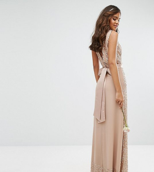 Maya Tall Embellished Maxi Dress With Bow Back in pink - Tall dress by Maya Tall, Chiffon fabric with sequin...