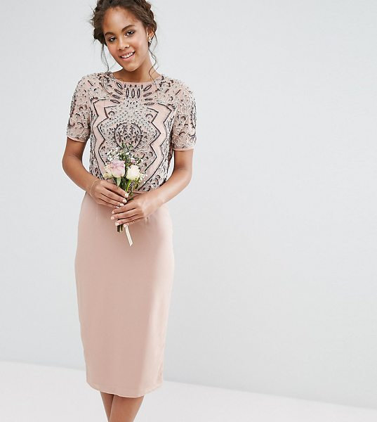 "Maya Tall Embellished Top Overlay Dress in pink - """"Tall dress by Maya Tall, Embellished top, Lined..."