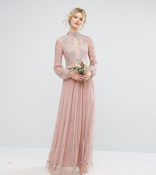 """Maya Tall High Neck Keyhole Detail Embellished Maxi Dress in pink - """"""""Tall dress by Maya Tall, Embellished lined fabric,..."""