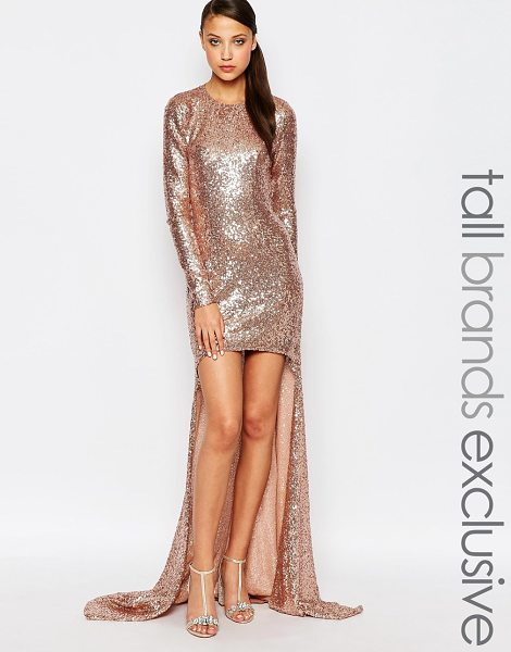 Maya Tall Sequin High Low Maxi Dress in pink - Maxi dress by Maya Tall, Woven fabric, All-over sequin...