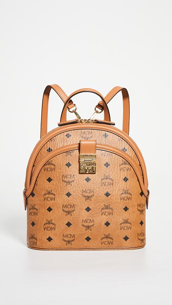 MCM anna visetos small backpack in cognac