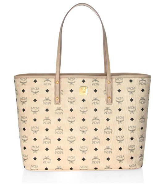 MCM medium anya top-zip shopper in beige - Tote bag featuring signature logo pattern design. Top...
