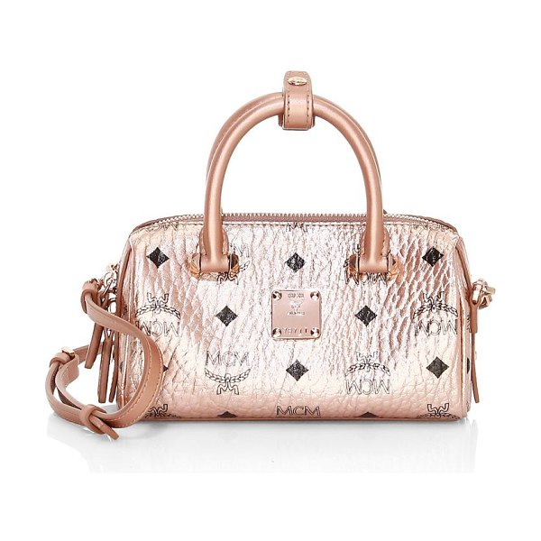 MCM boston essential visetos original satchel in champagne
